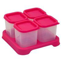 美國 green sprouts - 新鮮副食品4格分裝盒/儲存盒 (安全塑膠)-118ml-桃紅
