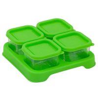 美國 green sprouts - 新鮮副食品4格分裝盒/儲存盒 (強化玻璃)-60ml-草綠