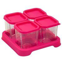 美國 green sprouts - 新鮮副食品4格分裝盒/儲存盒 (強化玻璃)-118ml-桃紅