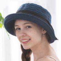貝柔 Peilou - 氣質緞帶捲邊圓帽-深藍