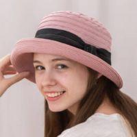貝柔 Peilou - 氣質緞帶捲邊圓帽-藕粉