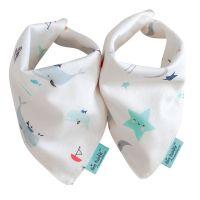美國 tiny twinkle - Drool Bibs 口水巾2入組-星星/鯨魚