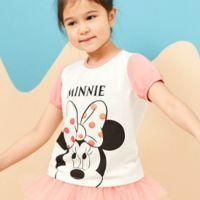 麗嬰房 Disney - 米妮系列閃亮女孩圓領上衣-白色