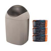 日本 Combi - Sangenic Poi-Tech 尿布處理器-溫暖灰-附專用衛生抗菌膠膜捲-柑橘香x3入組