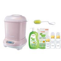 日本 Combi - Pro 高效消毒烘乾鍋-超值優惠組 F-優雅粉-消毒鍋+奶瓶刷+奶蔬+標準PES奶瓶兩大一小