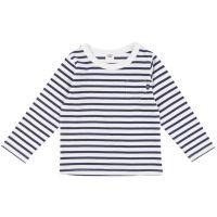 akachan honpo - 兒童基本款橫紋長袖T恤-深藍色