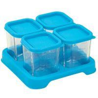 美國 green sprouts - 新鮮副食品4格分裝盒/儲存盒 (強化玻璃)-118ml-水藍