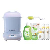 日本 Combi - Pro 高效消毒烘乾鍋-超值優惠組 E-靜謐藍-消毒鍋+奶瓶刷+奶蔬+標準玻璃奶瓶兩大一小