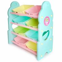 兒童玩具四層收納架-綠色