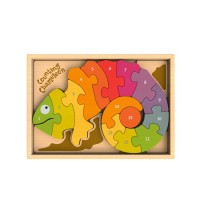 純木質拼圖玩具-數字變色龍