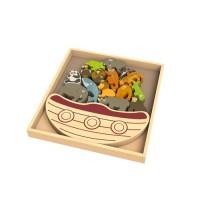 純木質拼圖玩具-稀有動物平衡船