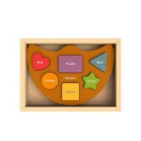 純木質拼圖玩具-形狀顏色平衡船