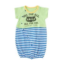 新生兒2way兩穿短袖條紋兔裝-綠 (50-60cm)