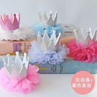 小公主髮夾-灰玫瑰+銀色皇冠