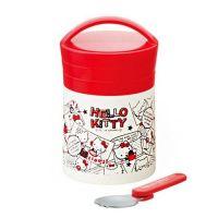 保溫罐(附折疊湯匙)-經典紅漫畫風Kitty-300ml