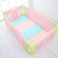 綿花糖色系地墊+遊戲圍欄+延伸門片-粉紅色-附贈圍欄固定夾