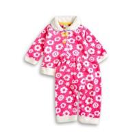 冬季毛茸茸睡衣-桃紅花朵