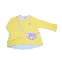 日本ZOOMIC - UZUCHAT格紋包包直條拼接長袖上衣-黃