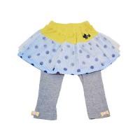 兩件式點點紗裙內搭褲-黃x藍點點