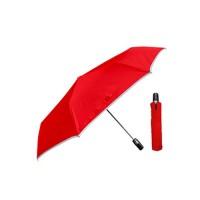 Weather Me - 皮革防潑水.省力自動開收晴雨傘-紅