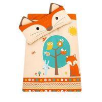 可愛動物造型睡袋-橘色小狐狸-造型睡袋X1+真空包裝枕心X1+枕頭X1+睡墊X1+防塵收納袋X1