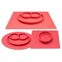 美國 ezpz - 快樂餐盤 Happy Mat+Bowl+Mini Mat-餐盤+餐碗+迷你餐盤-珊瑚紅
