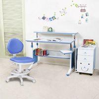 創意小天才 - 第五代兒童專用120cm調節桌三件組(桌+MORE FUN可加寬三抽櫃+素養家椅)-活力藍
