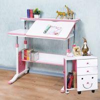 創意小天才 - 第五代兒童專用調節桌(90公分寬)+MORE FUN 可加寬三抽櫃-俏皮粉