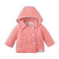 塔夫綢鋪棉海軍風雙排扣外套-粉紅 (80cm)