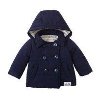 塔夫綢鋪棉海軍風雙排扣外套-深藍 (80cm)