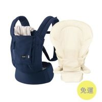 日本 Combi - join 減壓背巾新生兒專用組-海軍藍-附專屬新生兒用全包覆式內墊-鬆餅米