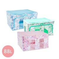 Family Life+ - 韓版無甲醛高質感雙視窗雙開收納箱88L-嫩彩藍x1+嫩彩綠x1+嫩彩粉x1