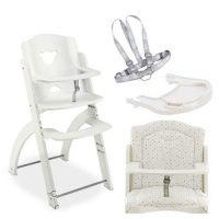 Pappy Re 熊寶寶成長餐椅組-白色-含白底圓點坐墊、白色小熊餐盤、安全帶