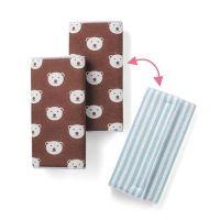 雙面款口水巾-天藍條紋/咖啡底熊熊 (regular(約15.5×16.5cm))