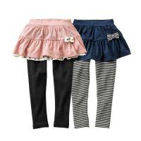假兩件式小蝴蝶結裙褲兩件組-深藍x粉紅