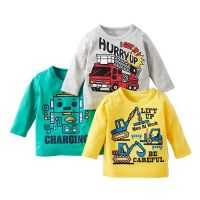男孩天竺棉可愛上衣三件組-機器人-黃x灰x綠