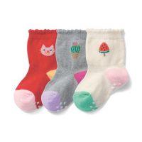 止滑小童中統襪三件組-貓咪x仙人掌x西瓜