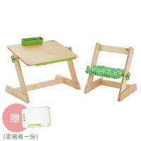 Qmomo兒童遊戲桌椅兩件組(1桌1椅)-白樺木