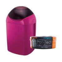 日本 Combi - Sangenic Poi-Tech 異味密封器/尿布處理器-莓酒紅-附專用衛生抗菌膠膜捲-柑橘香x1入組