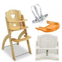 Pappy Re 熊寶寶成長餐椅組-原木-含點點坐墊、橘色小熊餐盤、安全帶
