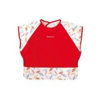 mini 食事圍兜-短袖-小糖果-活力紅 (L [90-100cm])-12個月起