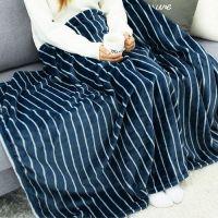 珊瑚絨保暖毯-條紋海軍藍 (100*160cm)