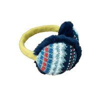 日本 BISQUE - 可收納式保暖耳罩(成人款)-北歐風圖騰-藍