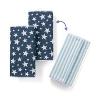 雙面款口水巾-天藍條紋/海軍星星