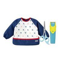 日本 Combi - 優質可水洗幼童電動理髮器+優質安全髮剪+mini 食事圍兜組-長袖款-噴水鯨-海軍藍