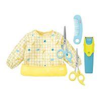 日本 Combi - 優質可水洗幼童電動理髮器+優質安全髮剪+優質安全髮剪髮梳組+mini 食事圍兜組-長袖款-動物園-奶油黃